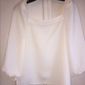 NWT Express White Square Neck Blouse Puff Sleeve
